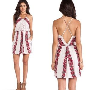 Free People Simona floral roses cross back dress